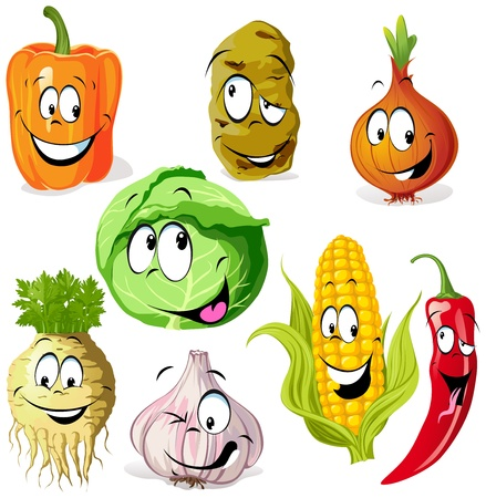 funny vegetable and spice cartoon isolated on white background Illustration