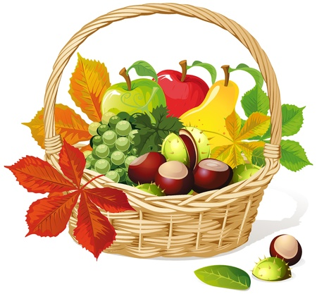 wicker: Basket with autumn fruit and vegetables, isolated