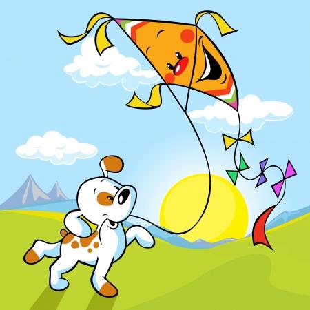 hond met vlieger illustratie