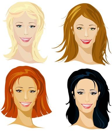 vier representatieve van de vrouwen Vector Illustratie