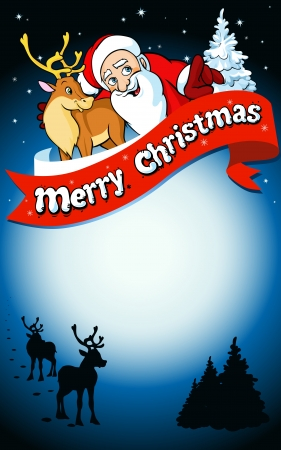 merry christmas frame with santa, reindeer, snow and romantic silhouette in snowy landscape Vector