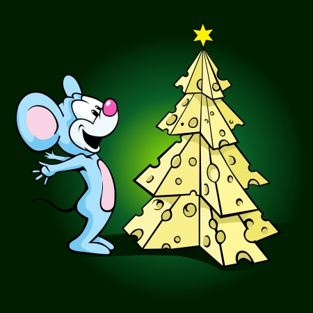 cute happy mouse with cheese xmas tree