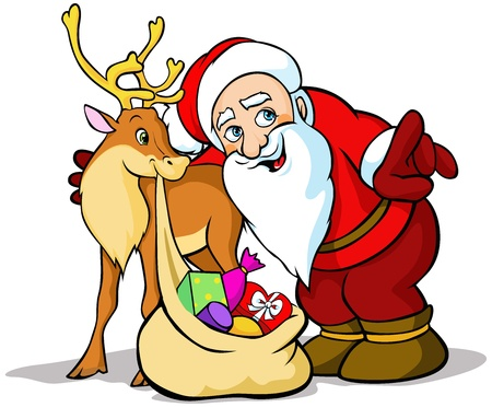 santas sack: Vector Illustration of Santa Claus with reindeer carrying sack full of gifts Illustration