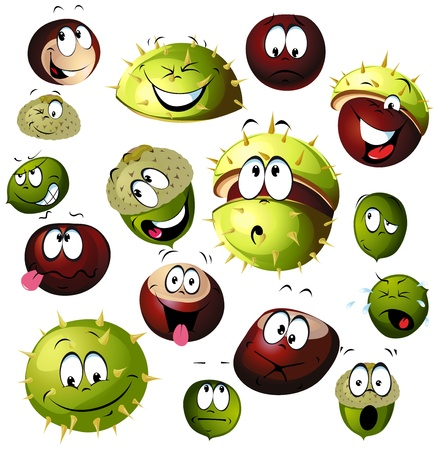 rinds: chestnut and acorn cartoon character isolated on white background