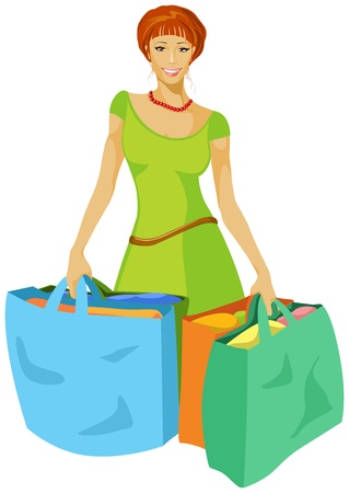 red haired woman: young woman with shopping bags in hand Illustration