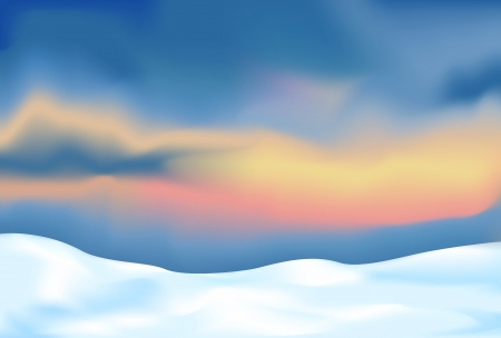 abstract landscape with snow and sunset sky Vector