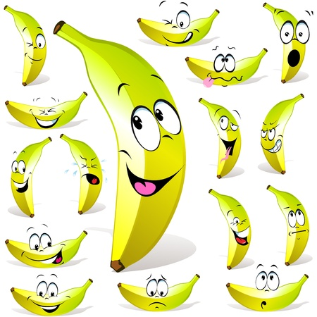 banana cartoon with many expressions isolated on white background