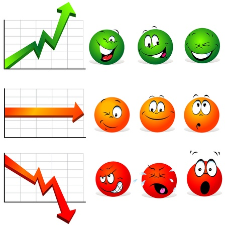 diameter: graphs of stability, profit and falls with smiley faces with many expressions