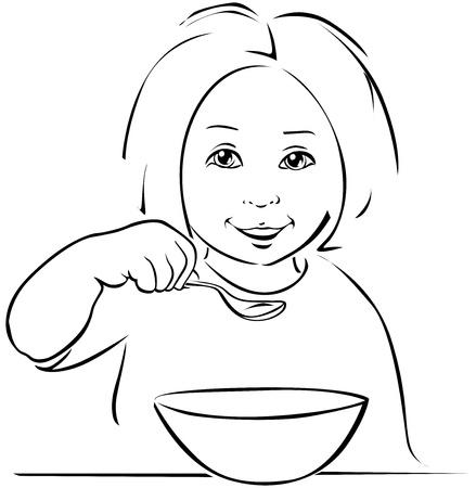 soup spoon: kind eten - zwarte rand op een witte achtergrond