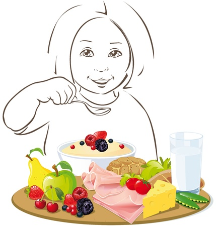 bowl of fruit: healthy eating child - illustration on white background Illustration