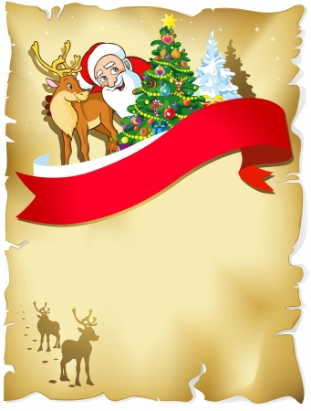 merry christmas frame with santa, reindeer, snow and romantic silhouette in snowy landscape on old paper Vector
