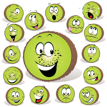 kiwi fruit: kiwi fruta historieta con muchas expresiones aisladas sobre fondo blanco