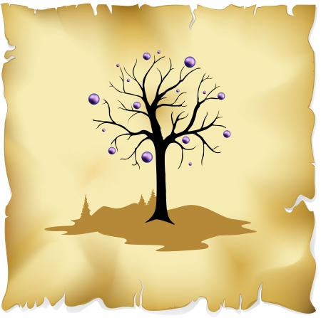 abstract tree on old paper background with violet balls decoration Illustration