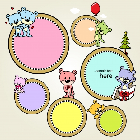 speech bubble or frame with cute bears Vector