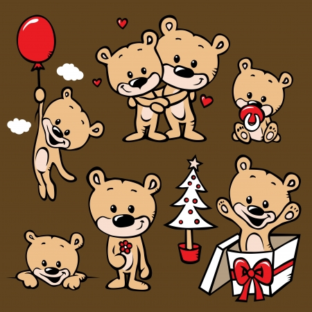 cute bear family cartoon - with love, christmas, flower, baby, pacifier and gift Vector