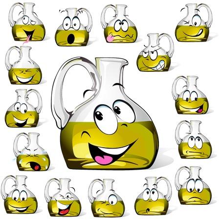 оливки: Оливковое масло бутылки мультфильм, изолированных на белом