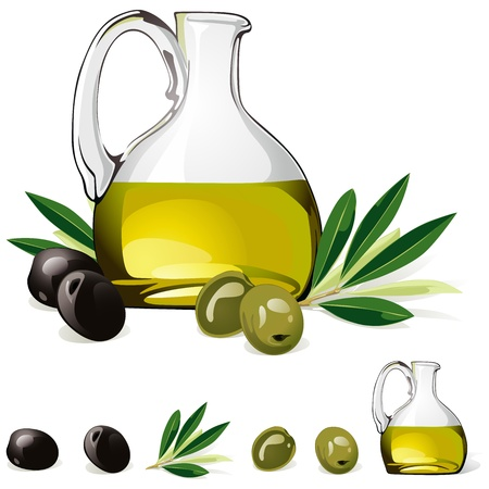 carafe with olive oil, green and black olive isolated on white background