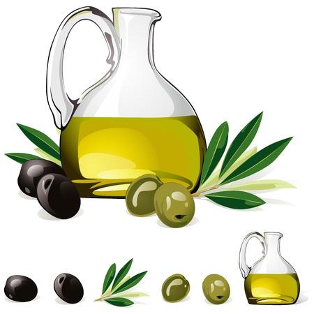 aceite de oliva: jarra con aceite de oliva, verde oliva y negro aislado en fondo blanco Vectores