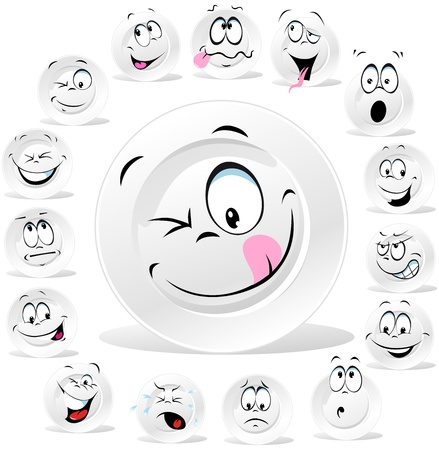 porcelain plate: white plate cartoon with many expressions isolated on white background