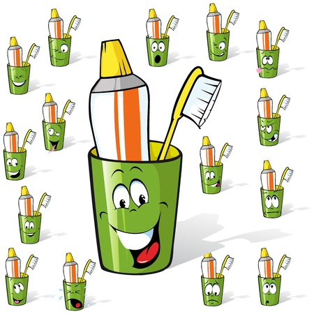 toothbrush and toothpaste in a cup - cartoon with many expressions, illustration isolated on white background