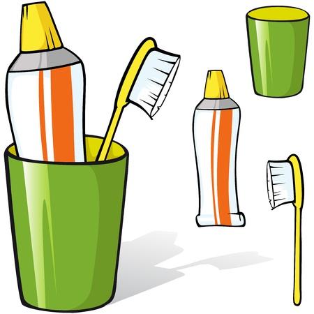 pasta dental: cepillo de dientes y pasta de dientes en un vaso de ilustración aislado sobre fondo blanco