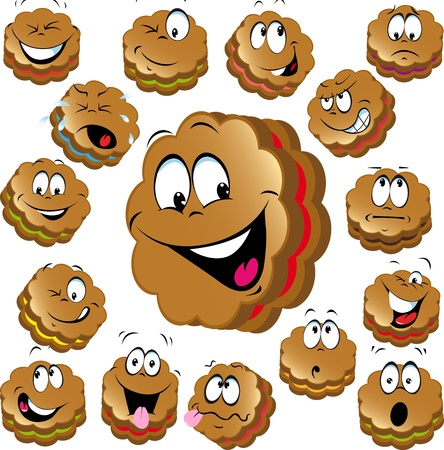 sweet christmas cookies with funny faces isolated on white background