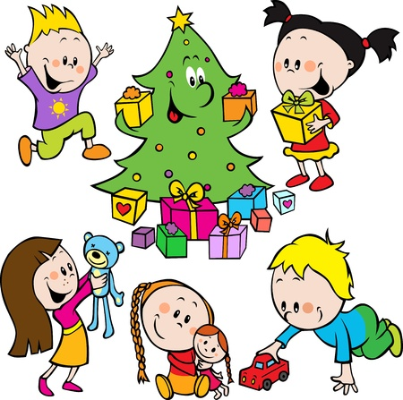 cute cartoon boy: children playing with toys and christmas tree handing out gifts isolated on white background