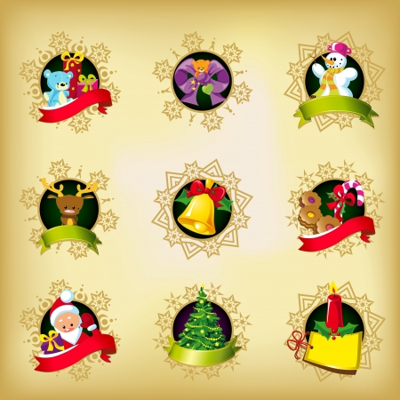 christmas icons - santa, reindeer,gifts,christmas tree,ribbon, snowman,sweets, bell and candle in snowflakes frame Vector