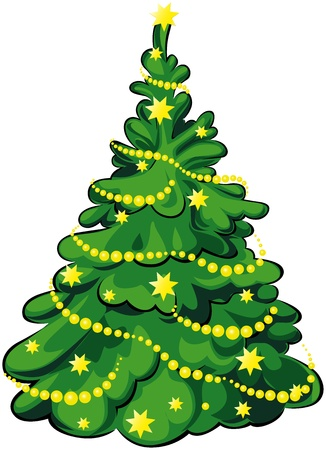 cartoon christmas tree: green christmas tree with yellow stars and chain isolated on white background Illustration