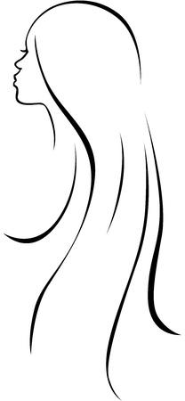 아름다운 여자 머리 - 블랙 라인 흰색 배경에 그리기