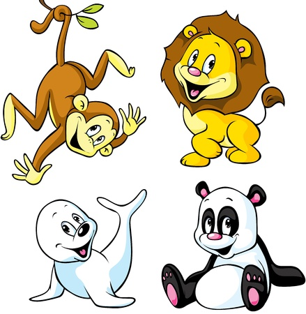 cute animal cartoon - monkey, lion, panda and seal