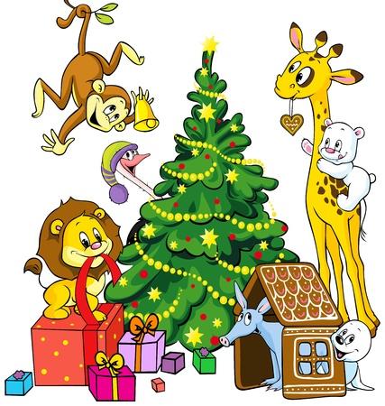 かわいい動物は、白い背景で隔離のクリスマスを祝う