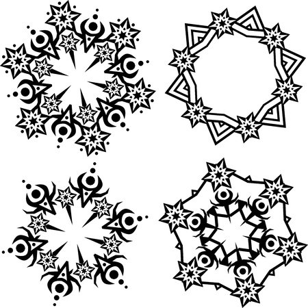 black snowflakes ornament on white background Vector