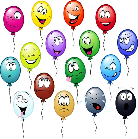 object with face: colorful balloons cartoon isolated on white background