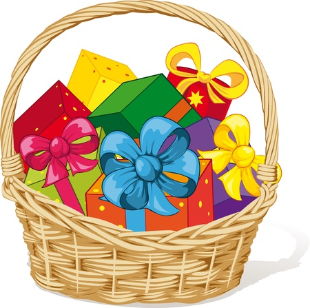 gift basket: basket full of gifts isolated on white background