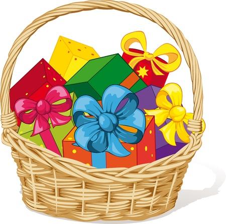 košík: koš plný dárků izolovaných na bílém pozadí