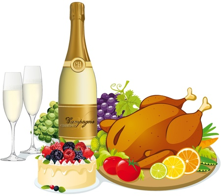 christmas dinner party: festive feast with champagne, poultry,swetts, fruit and vegetable