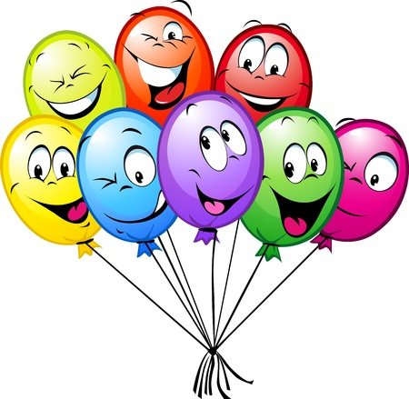 group of funny colorful balloons isolated on white background Illustration