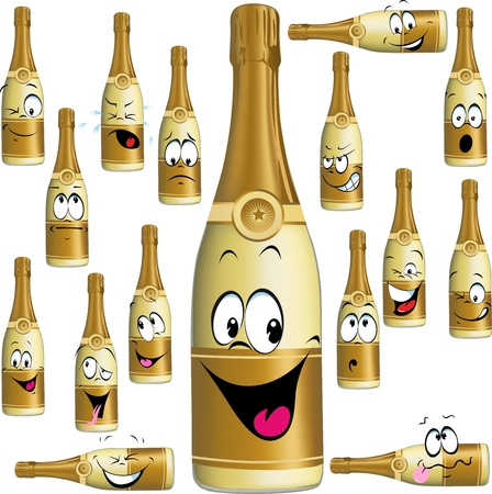 Bottle of Champagne funny cartoon isolated on white background