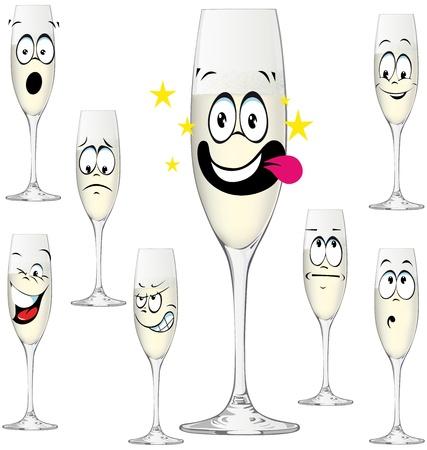 Bottiglia di Champagne divertente cartone animato isolato su sfondo bianco