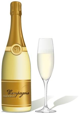 botella champagne: copa de champán y una botella - Ilustración Vectores