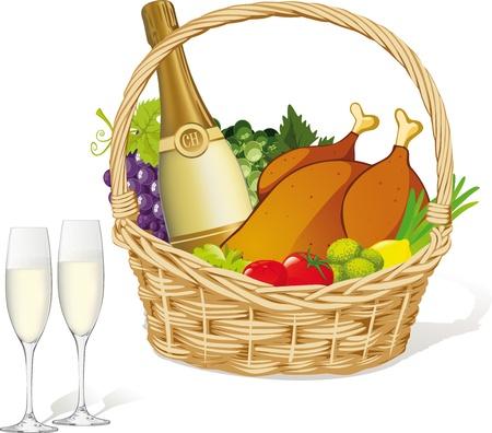junket: picnic basket isolated on white background