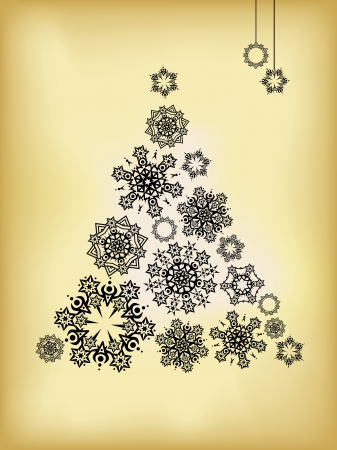 felicitation: abstract christmas tree made from snowflakes