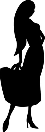 black woman silhouette with shopping bag on white background Vector