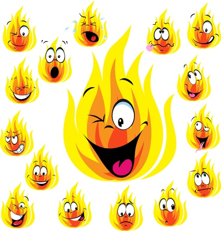 vivacity: fire cartoon with many expressions isolated on white background