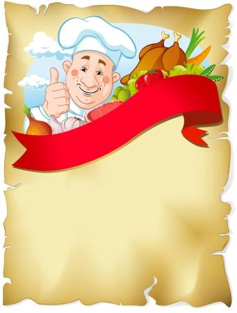 pollo caricatura: Fondo de papel viejo con el chef que muestra el pulgar hacia arriba, la comida y la cinta