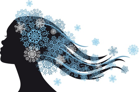 Snow Queen - woman with snowflakes in hair Stock Vector - 17243710