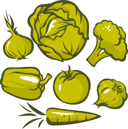set of vegetable isolated on white background Stock Vector - 17478666