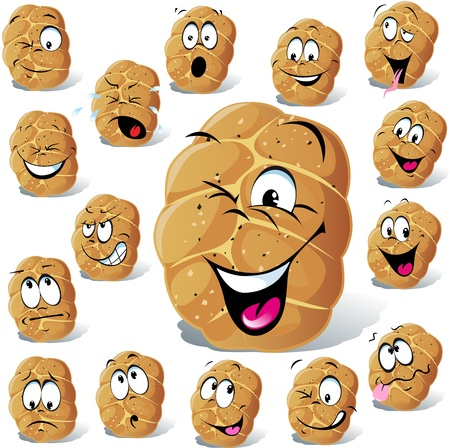 bun cartoon with many expressions isolated on white background Stock Vector - 17478671