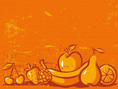 orange vintage background with fruit - pear, lemon, apple, cherry, banana, orange and strawberry Stock Vector - 17478617